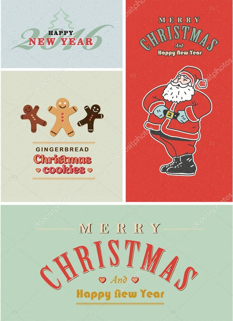 vintage retro christmas card set old fashioned santa claus gingerbread and old style