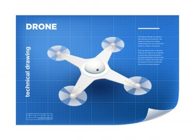 Technical Illustration with vector isometric white quadcopter