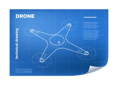 Technical Illustration with vector isometric line quadcopter drone