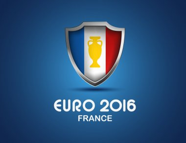 France Euro 2016 concept. Vector shield with flag and football golden cup.