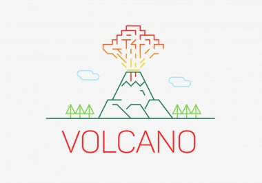 Volcano exploding thin line icon flat design logo elements.