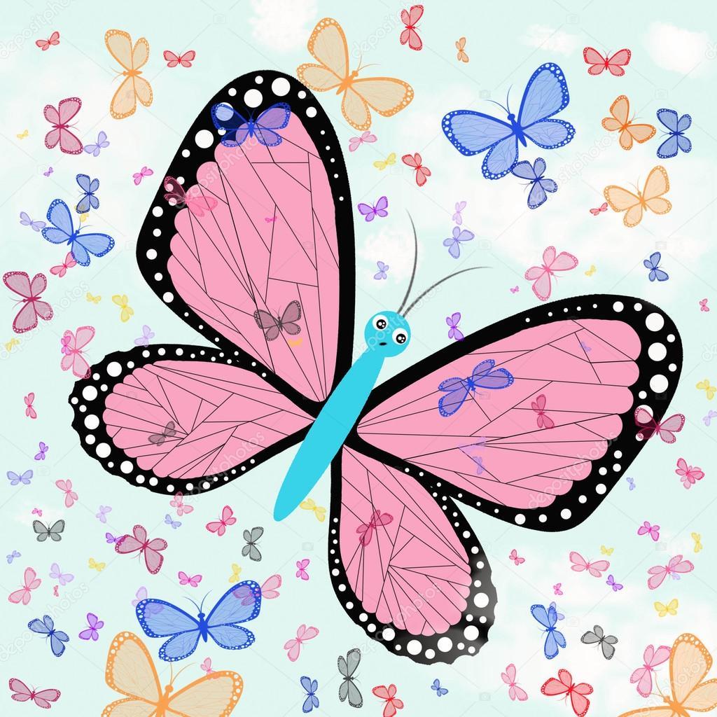 Farfalle contro un cielo blu imitazione di disegni dei for Immagini farfalle per desktop