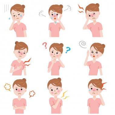 set of common woman menopause symptoms