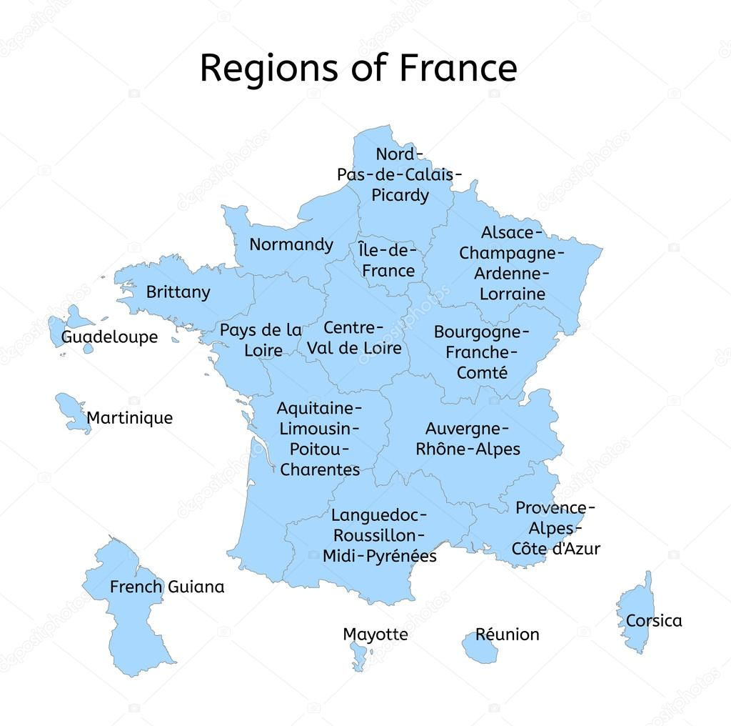 France Administrative Map With New Regions Stock Vector
