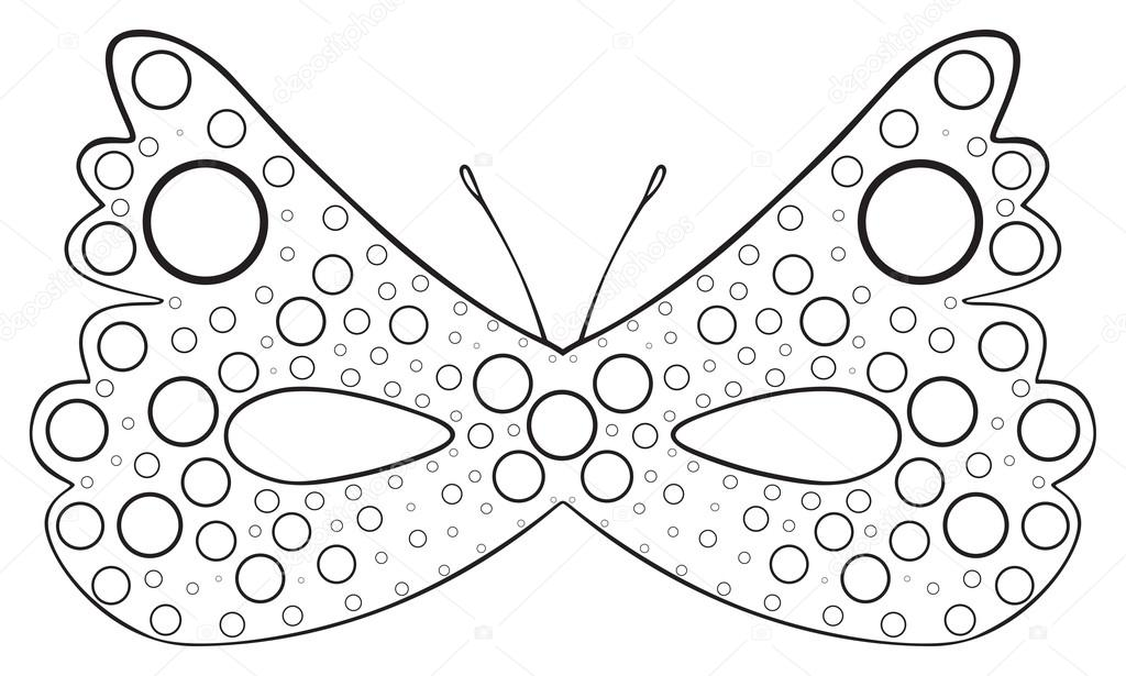Happy Holiday Mask Of Dotted Butterfly Stock Vector