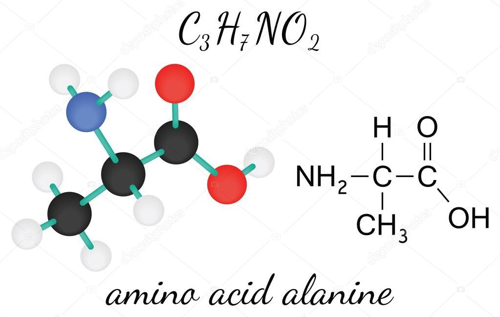 Molécula De Aminoácido Alanina C3h7no2 Vetor De Stock