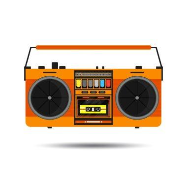 Flat vintage orange tape recorder