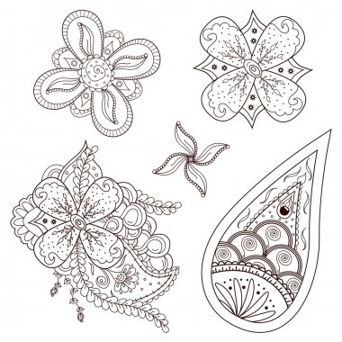 Set of abstract flowers and paisley elements in Indian mehndi style.