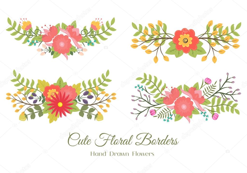 Conjunto De Lindos Bordes Florales