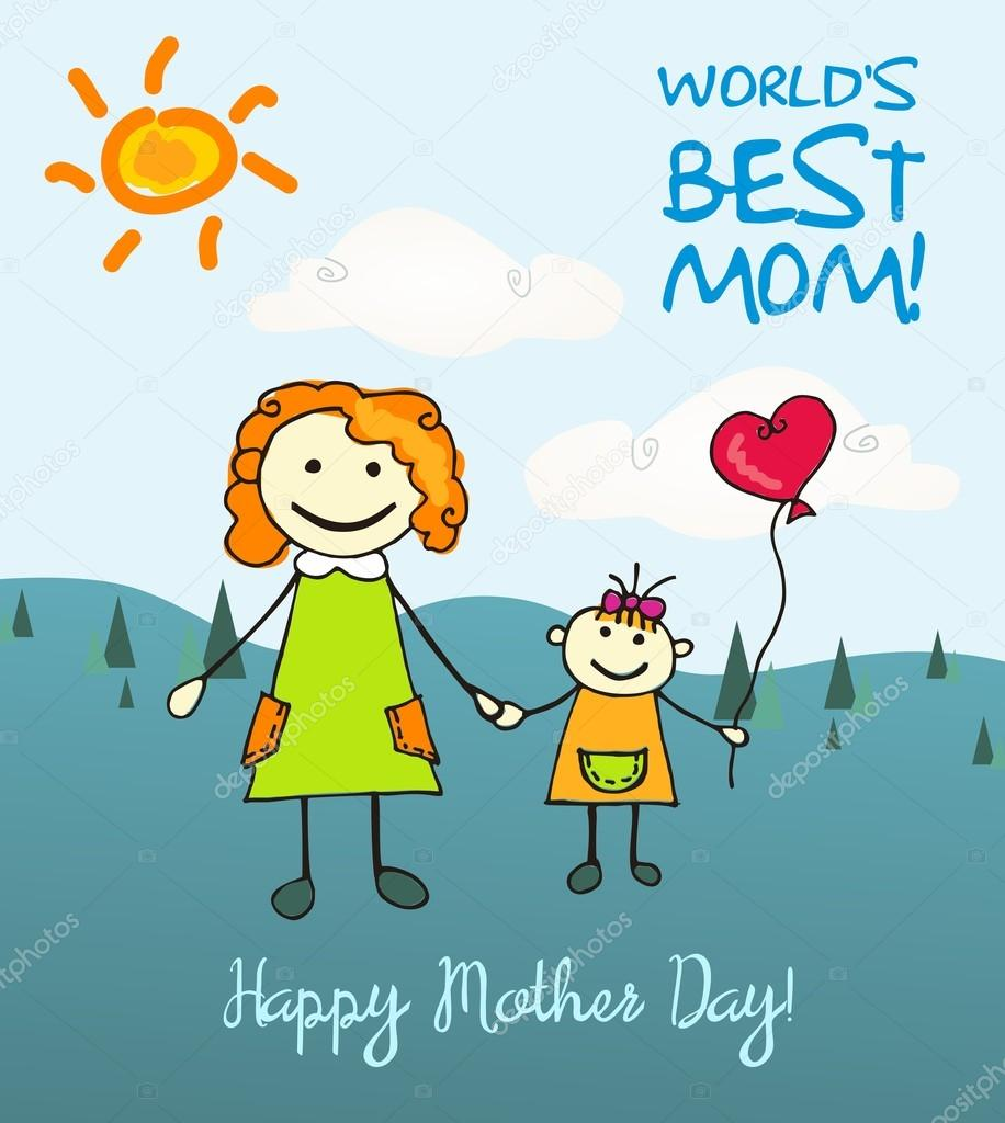 World Blood Donor Day Background: Mothers Day Cartoon Card Stock Vector Ga1ka #69538961