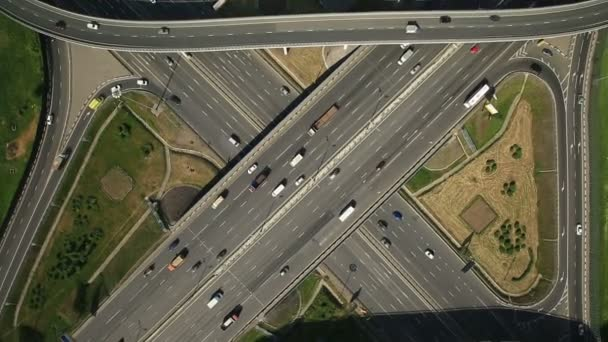 Aerial view of highway interchange in Moscow city