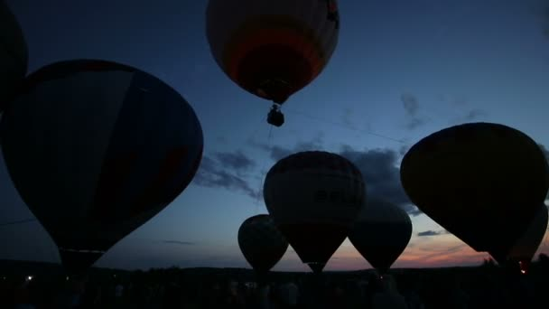 Pereslavl Zalessky, Russia - 20 JULY 2015: Hot air balloon in the dark sky, timelaps
