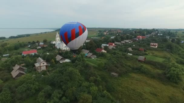 Pereslavl Zalessky, Russia - 20 JULY 2015:Hot air balloon in the sky, aerial view