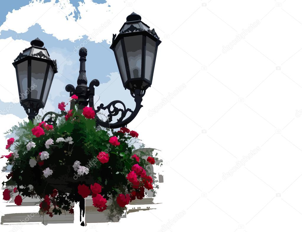 Lantern with Hanging Baskets - Illustration