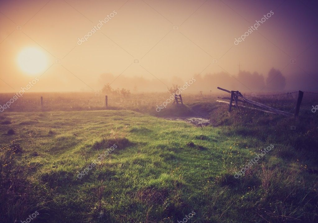 Vintage photo of morning foggy meadow in summer. Rural landscape