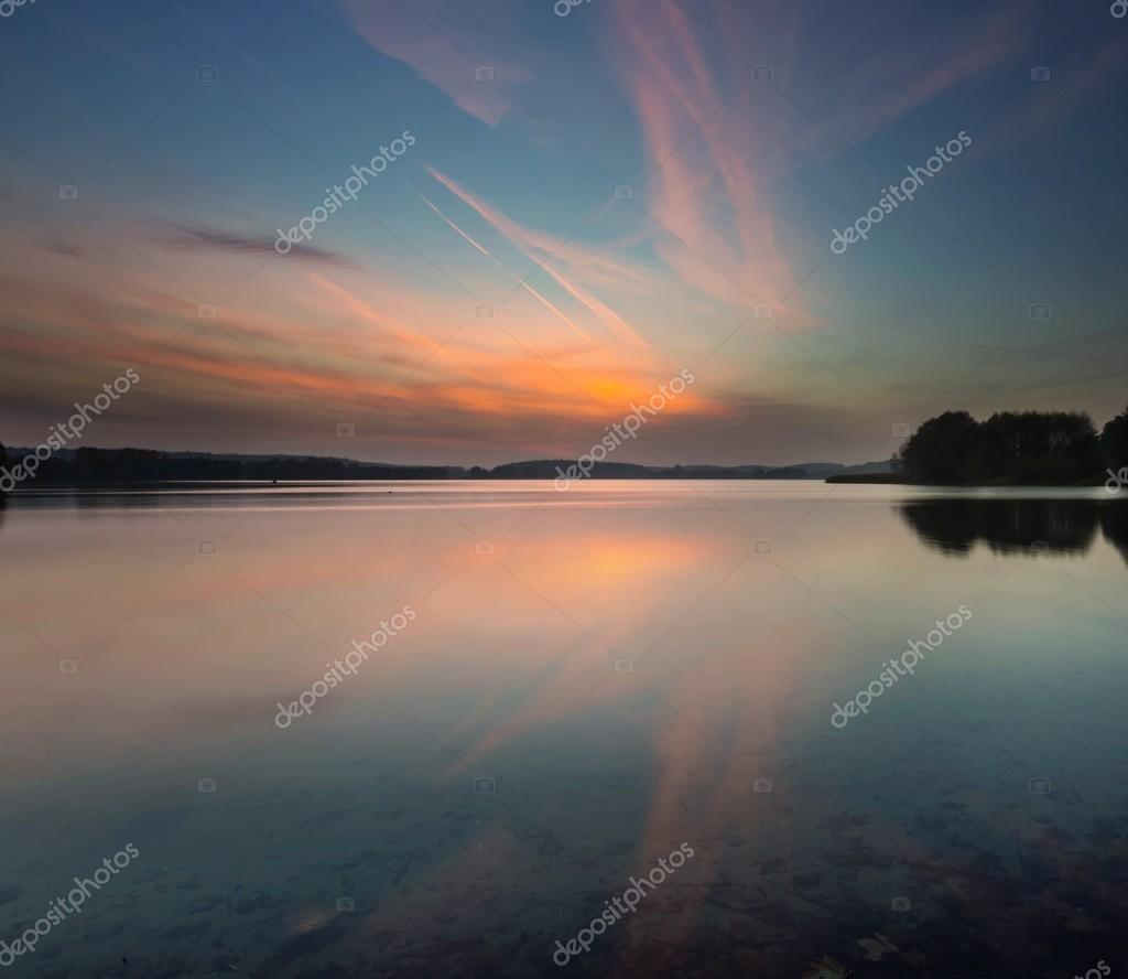 Beautiful lake sunrise landscape