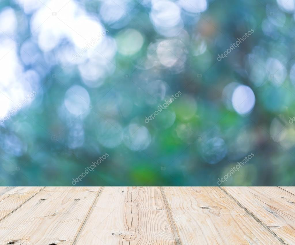 Wooden floor and out of focus bokeh background