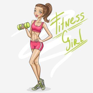 cartoon Fitness girl