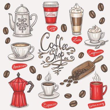 Coffee doodles set