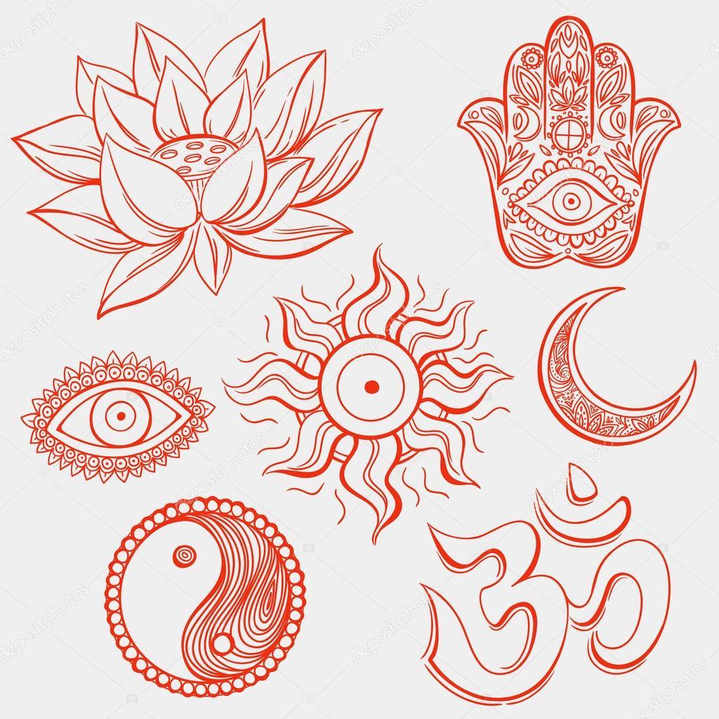 rote spirituelle symbole stockvektor karinacornelius. Black Bedroom Furniture Sets. Home Design Ideas