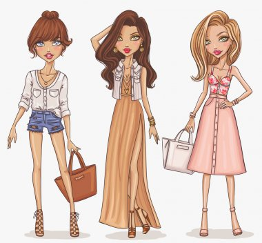 Beautiful and stylish fashion girls set. Vector illustration stock vector
