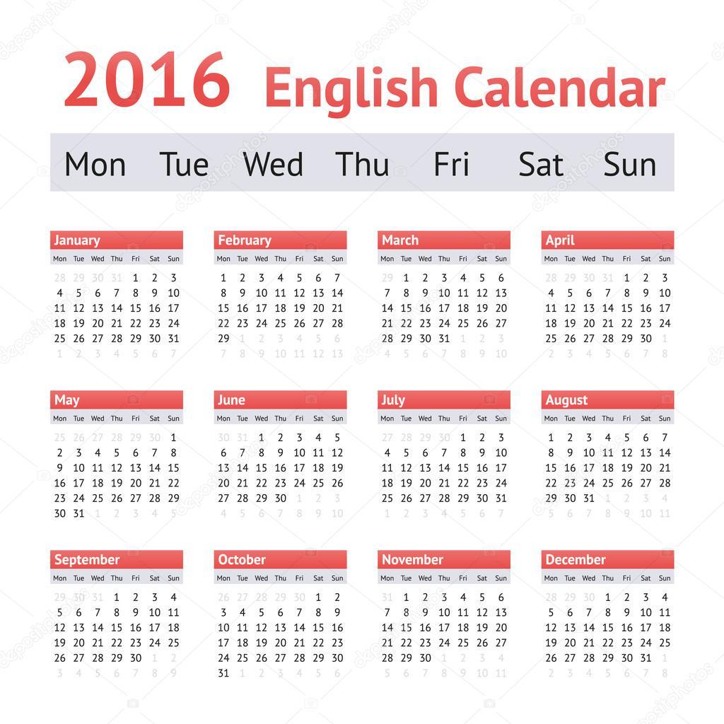naptár angolul 2016 európai angol naptár. Hét kezdőnapja a hétfő — Stock Vektor  naptár angolul