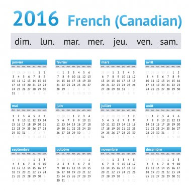 2016 French American Calendar. Week starts on Sunday