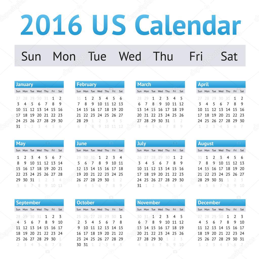 naptár angolul 2016 USA amerikai angol naptár. Hét kezdőnapja a vasárnap — Stock  naptár angolul