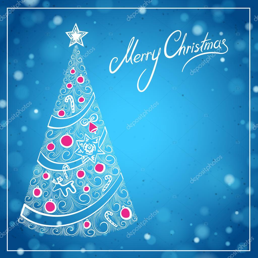 Cartoline Di Auguri Di Natale.Cartolina D Auguri Di Natale Blu Con Albero Di Natale Disegnato A
