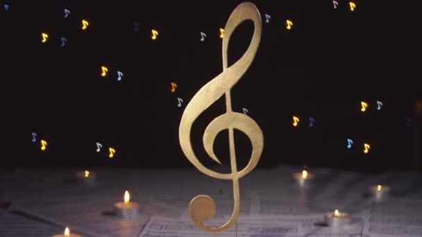 Trojitý klíč. Symbol noty. Hudební zázemí