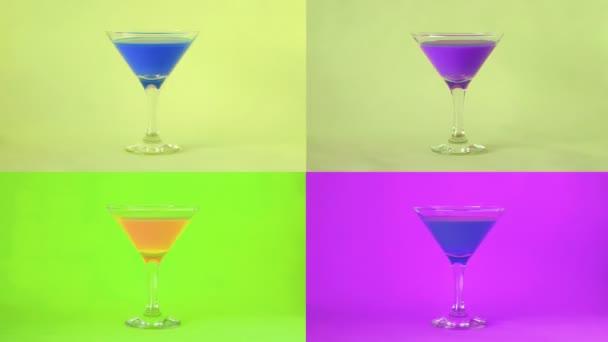 Bunte Cocktails. Cocktailparty-Hintergrund. Stop-Motion-Animation