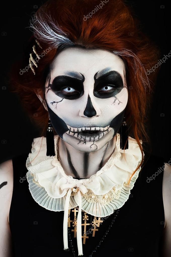 sch ne mode frau mit make up skelett stockfoto kudymov 88365418. Black Bedroom Furniture Sets. Home Design Ideas