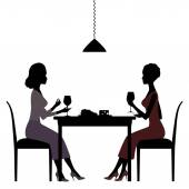 Silhouette of women in restaurant