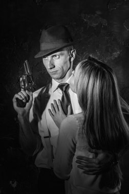 Detective with beautiful woman in black and white, noir style