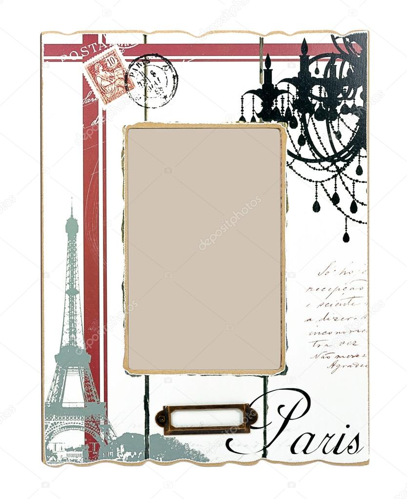 Paris Picture Frame Eiffel Tower: White Aged Photo Frame With Drawings Of Eiffel Tower And