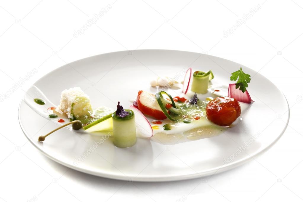 Insalata di verdure cucina molecolare foto stock for Postres de cocina molecular