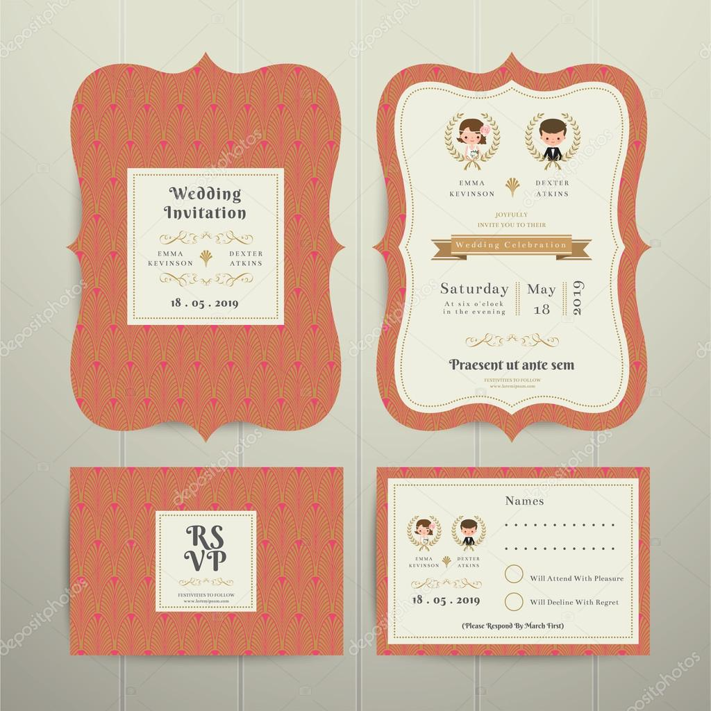 Art déco Cartoon Couple mariage Invitation carte Rsvp mis or un ...