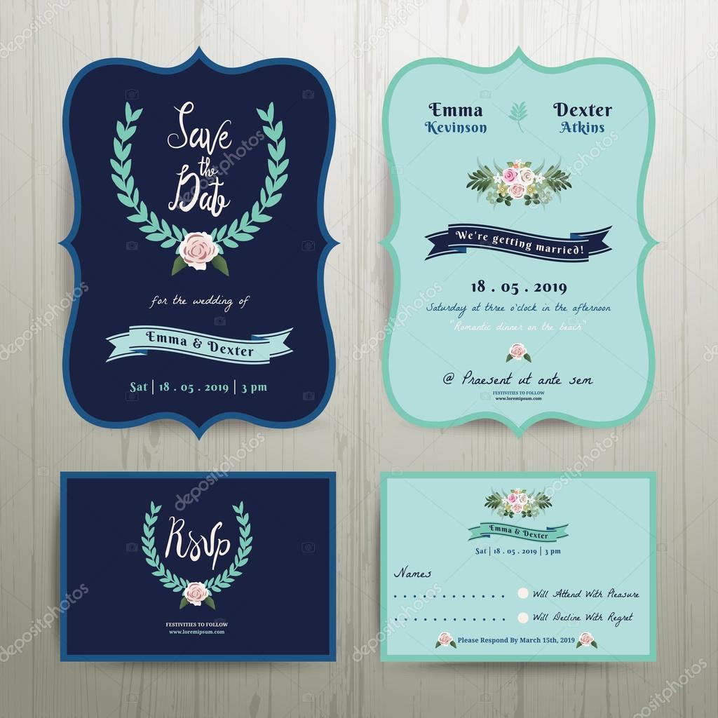 Tarjeta De Invitación De Boda Azul Marino Con Guardar La