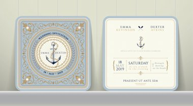 Vintage Nautical Anchors and Chain Wedding Invitation Card in Classic Style