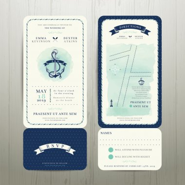 Wedding on the beach watercolour nautical theme with rsvp card set