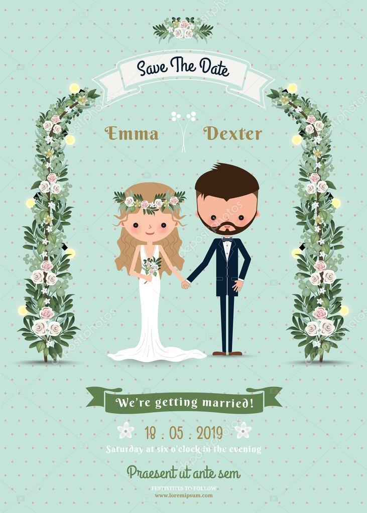 Hipster wedding invitation card bride & groom cartoon beach theme ...