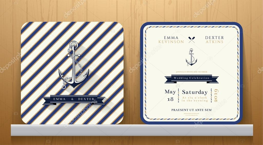 Vintage Nautische Anker Hochzeit Einladungskarte Mit Blau Gestreift U2014  Stockvektor