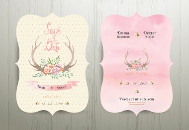 Antler flowers rustic wedding save the date invitation card 02 on wood background stock vector