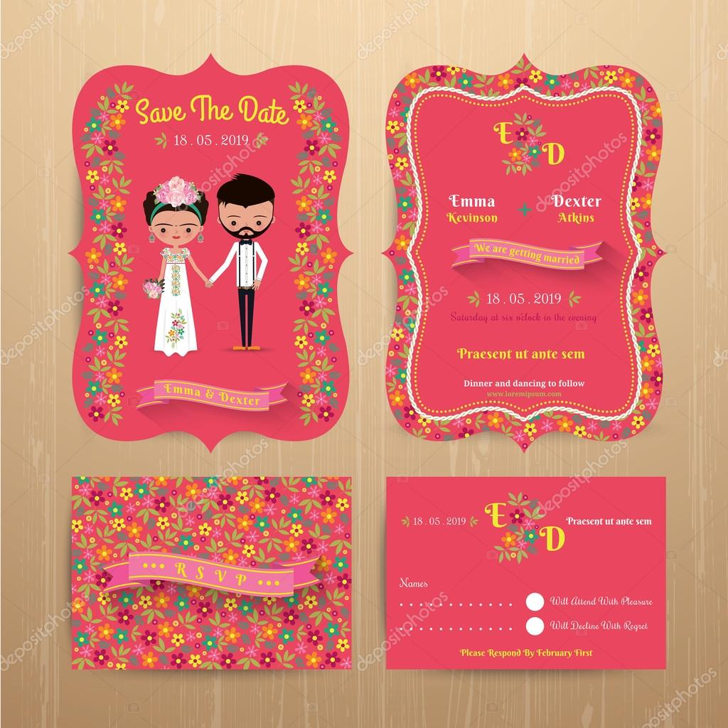 Bride and groom rustic floral wedding invitation card with save the ...