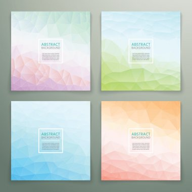 Abstract polygonal with square text background set