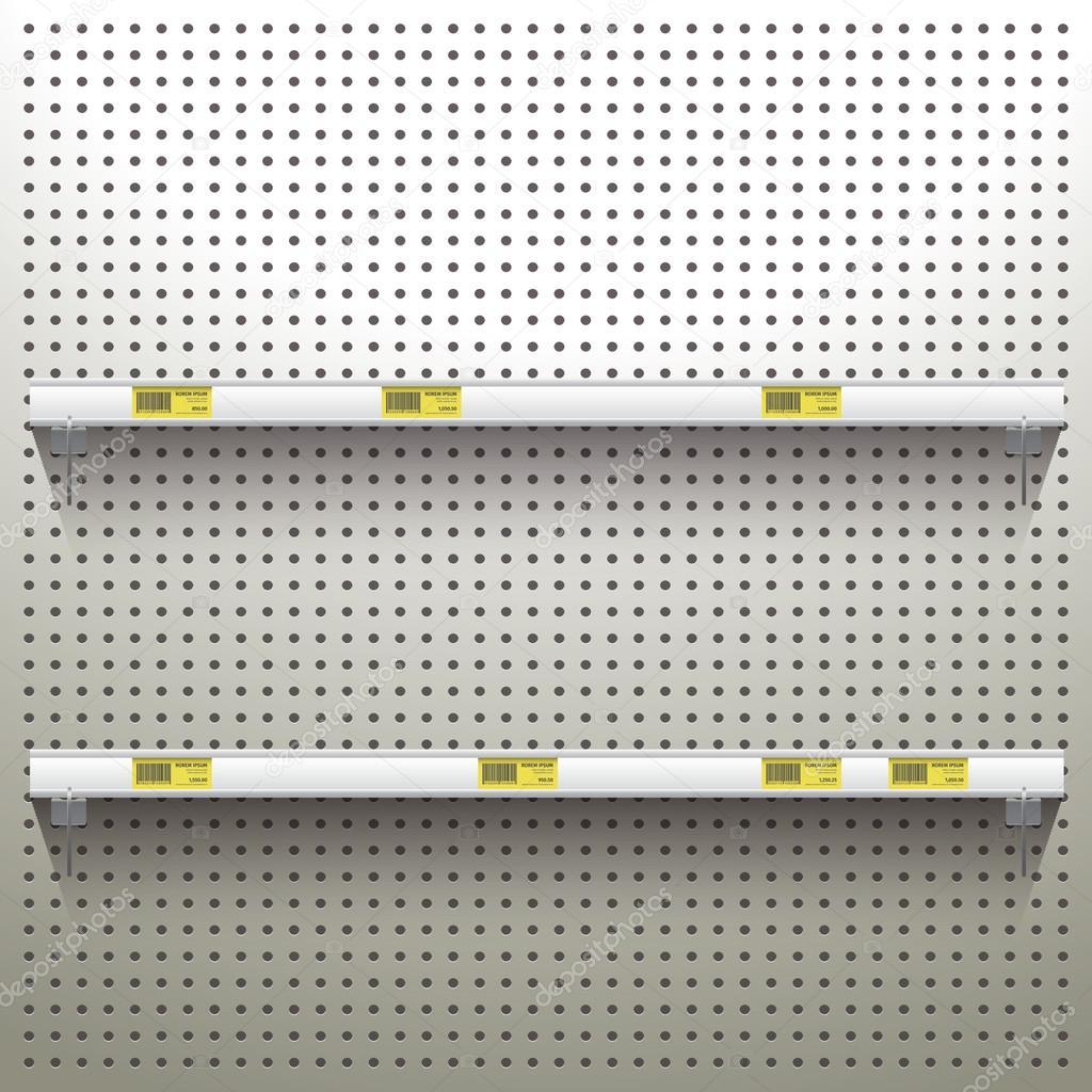 Fond Panneau Perforé Blanc Avec étagères Image Vectorielle