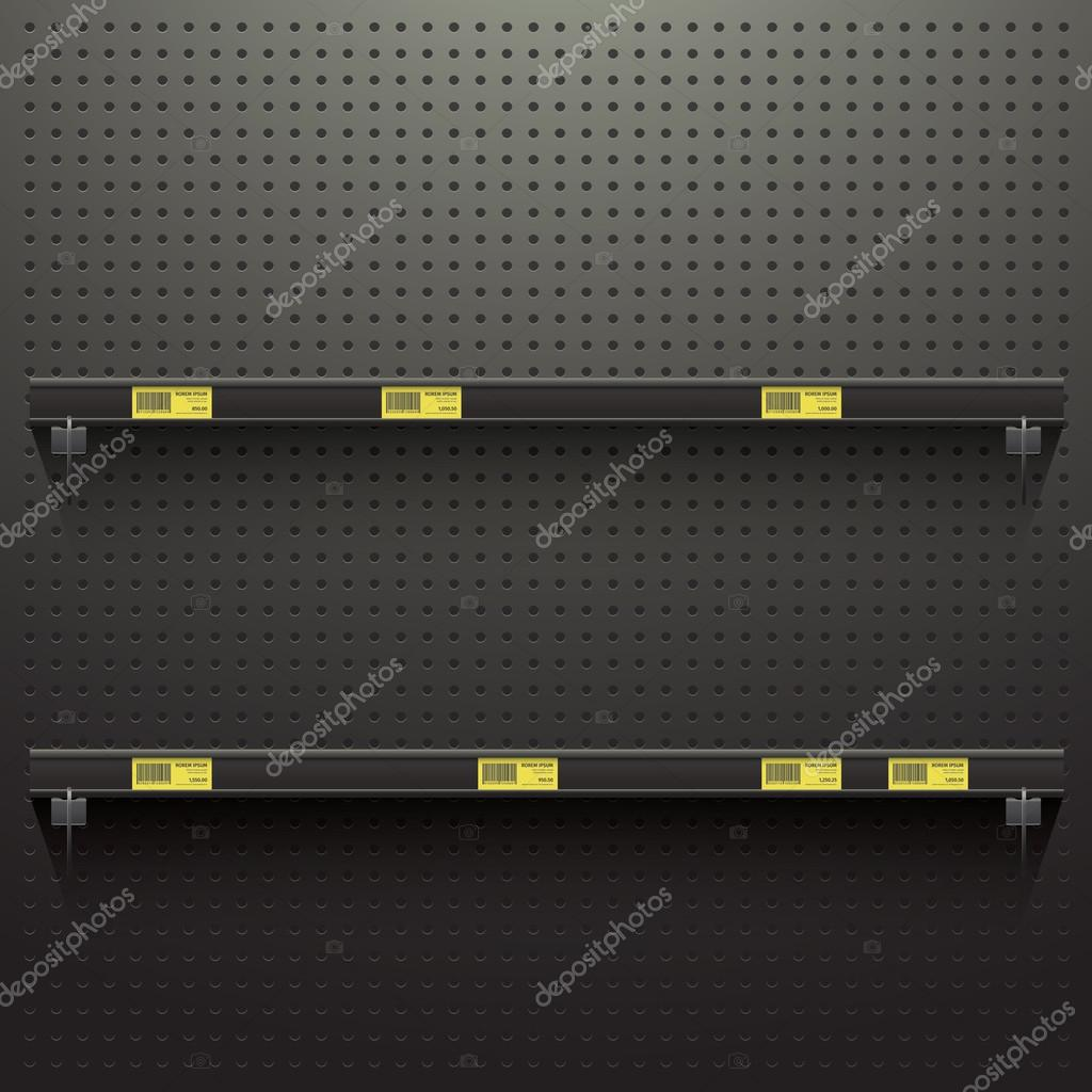 Dark Pegboard Background with shelves