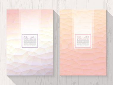 Abstract polygonal with square text peach background set