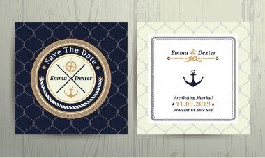Nautical rope wedding card on fishnet background