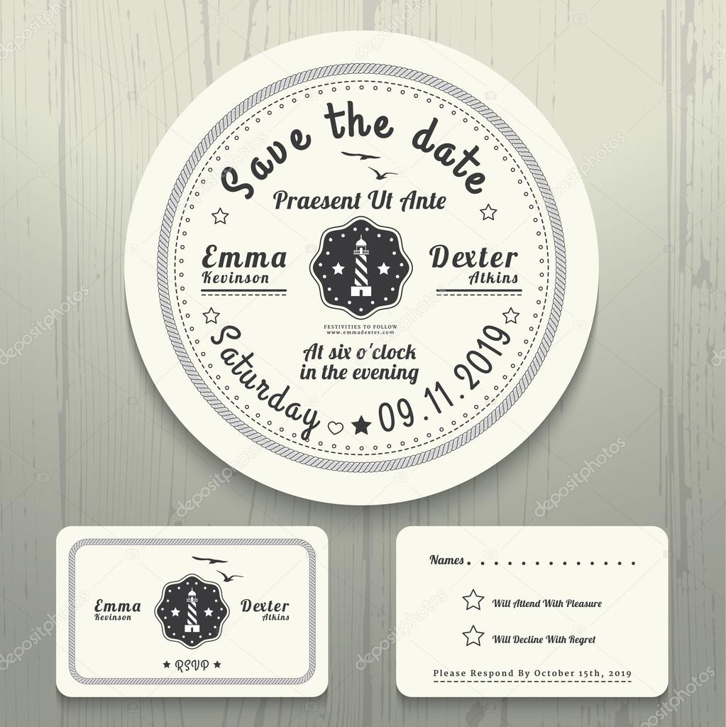 Nautical wedding invitation and rsvp round card template set vetor nautical wedding invitation and rsvp round card template set vetor de stock stopboris Image collections